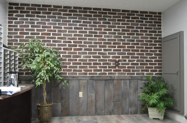 Redwood Thin Veneer Brick and Natural Salvaged Wood Stone